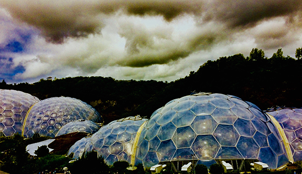 The biodomes at the Eden Project from a birds eye view.